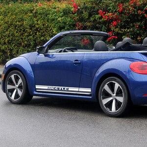 2 шт., автомобильные наклейки в полоску с изображением жука для гонок, мотоспорта, графическая наклейка для Volkswagen Beetle, аксессуары