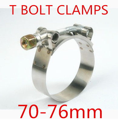 10pcs/lot 70-76mm T BOLT CLAMPS Turbo Pipe Hose Coupler Stainless Steel