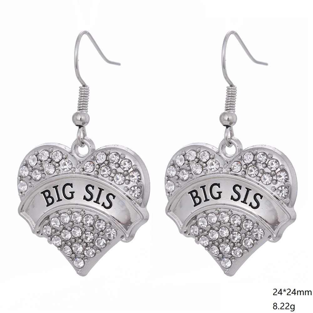 Conjunto de joyas en forma de corazón de cristal con forma de Myshape, collar de amor de Hermana Grande, pendientes de pulsera, accesorios de moda para hermana, regalo para mujer