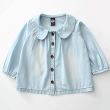 2016 Spring Autumn New Brand Girls Light Blue Shirt Embroidery Peter Pan Collar Children Clothes Baby Clothing Girl Shirt 8242