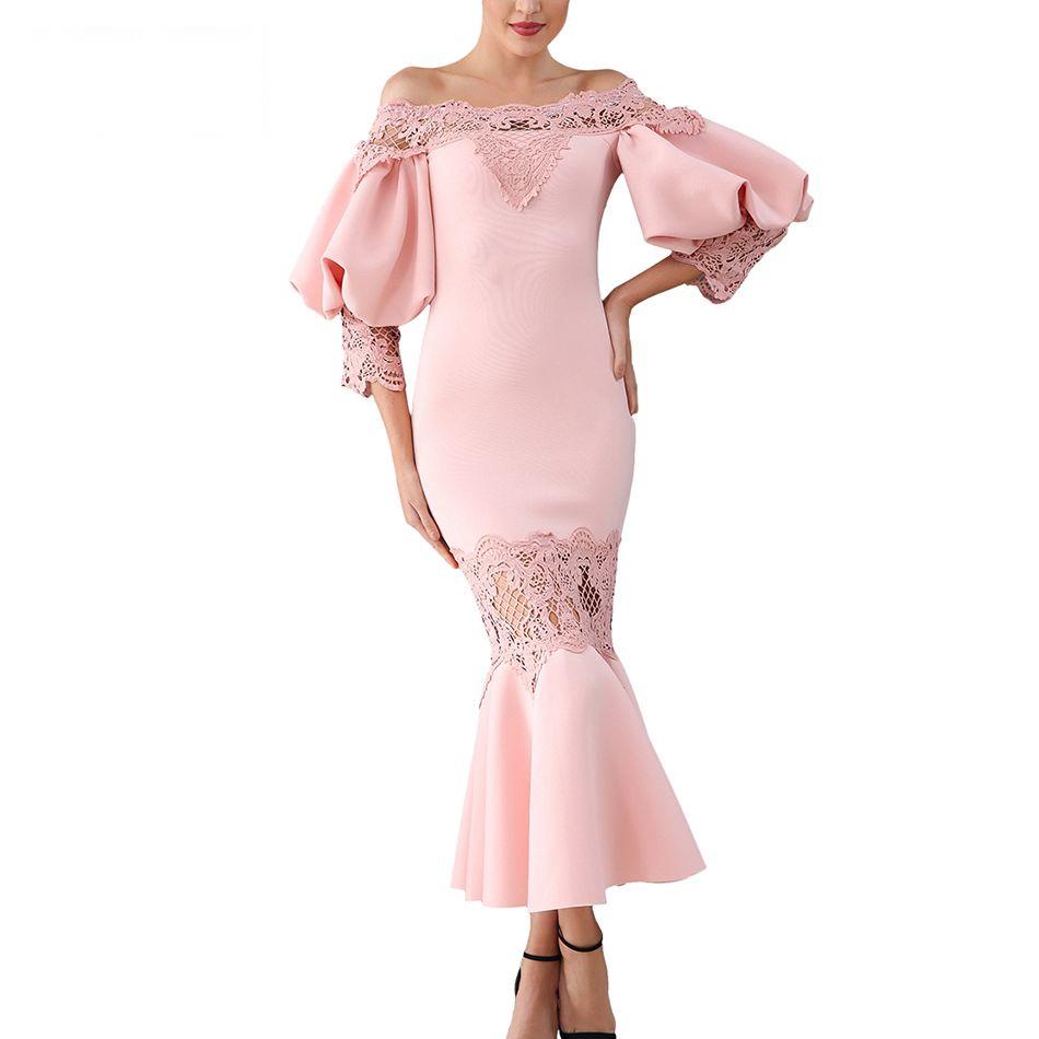 En Robe Sexy Party Dentelle Sirène rose D'hiver Femmes Manches Robes Cou Celebrity Date Gros Lanterne blanc Slash Noir Soirée wIf6gnx4q4