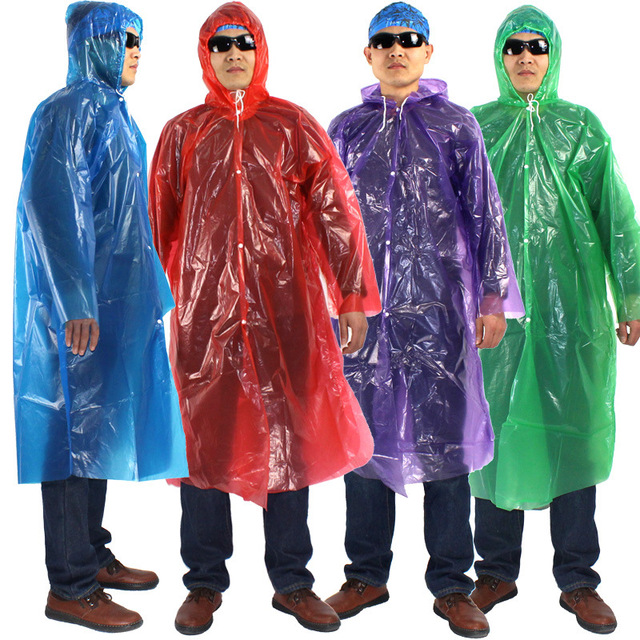 Plastic Rain Cover Portable Rainwear Disposable Outdoor Transparent Raincoat With Hood Waterproof Camp Rain Cape Hooded Ponchos
