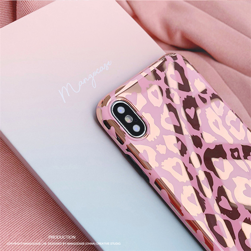 Luxury Leopard Print Phone Cases For iphone X XS Max XR Case  Fashion Glossy Soft silicone Cover For iphone 8 7 6S 6 plus Capa