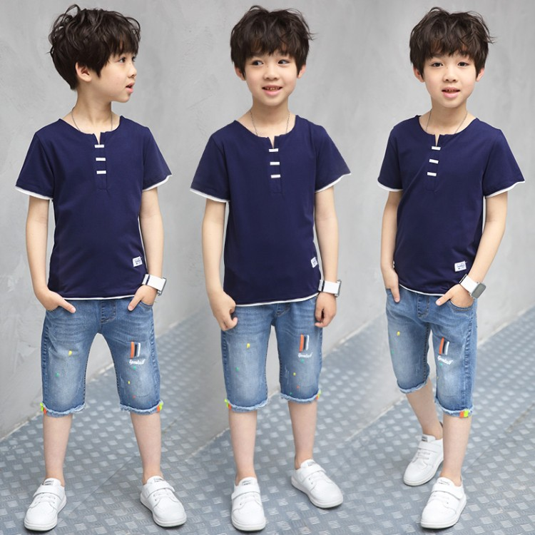 2018 New Spring Summer Kids Suits Boys Set Leisure Loose Short Sleeve T Shirt+Jeans Shorts Open Collar Children's Clothing Sets