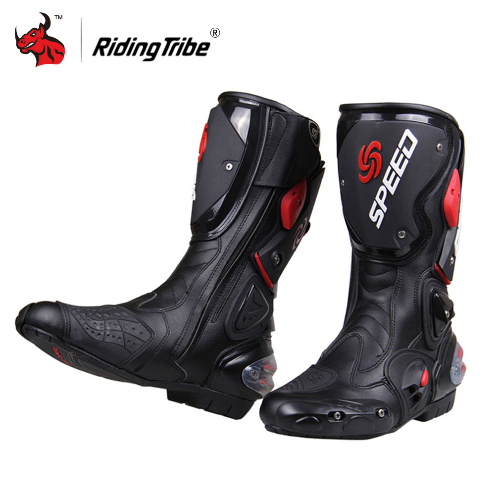 цена на Riding Tribe Motorcycle Boots Men Motocross Off-Road Motorbike Shoes PU Leather Moto Boots SPEED Racing Dirt Bike Boots Black