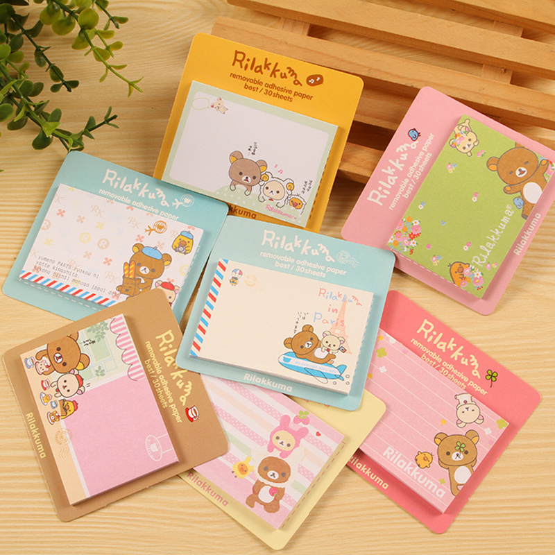 8pcs Cute Memo Pad Cartoon Post Notes Vintage Sticky Note Rilakkuma Stationery Office Accessories School Supplies A6648