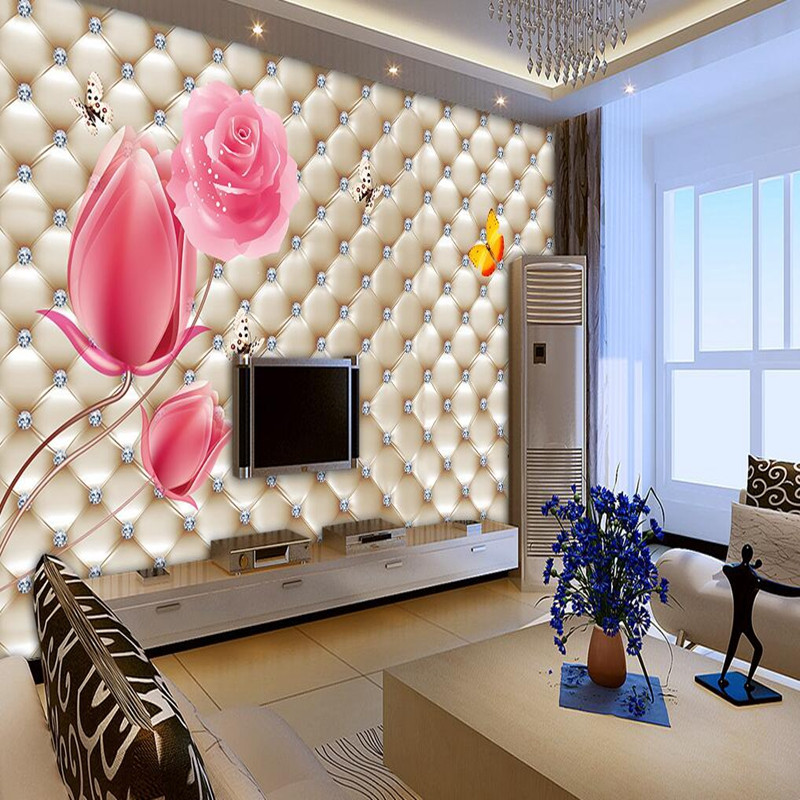 Wall Mural Wallpaper 3D Wallpaper Stickers Soft Leather Wall Murals Tulip Rose Sofa TV Background Wall Mural Decor Wall Paper 3D new can customized waterproof wall stickers art 3d large big wallpaper sky mural restaurant sofa tv background home decor