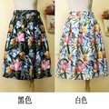 2 colors floral  50s Style Rock & Roll Grease Circle Skirt Rockabilly black white