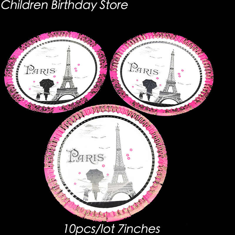 10pcs/lot Paris Tower disposable plates Paris Tower theme birthday party decorations Paris theme party supplies