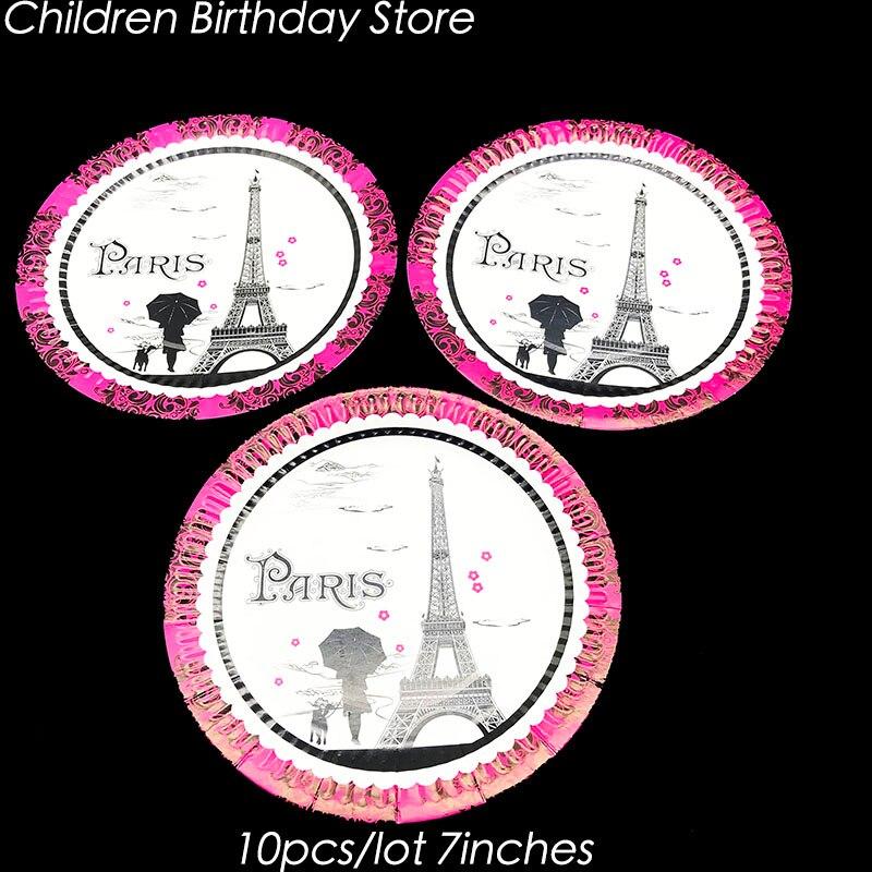 Us 2 49 17 Off 10pcs Lot Paris Tower Disposable Plates Paris Tower Theme Birthday Party Decorations Paris Theme Party Supplies In Disposable Party