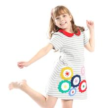 2019 summer  baby girls printing  dress sun flower casual  kids clothes clothing Loose cute cotton Princess stripe dress цена в Москве и Питере