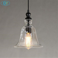 AC100 240V Clear Bell Glass Lampshade Pendant Light Household Hanging Lamp Fixture Novelty Modern Bell lamps lamparas loft lamp