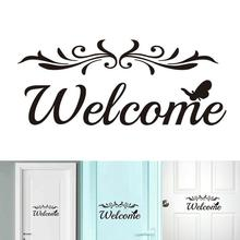 Welcome Wall Decal Home Door DIY Removable PVC Sticker Art Entryway Mural Decor Removable Sticker Hotel Door Decor Sticker halloween proverb letter removable wall sticker