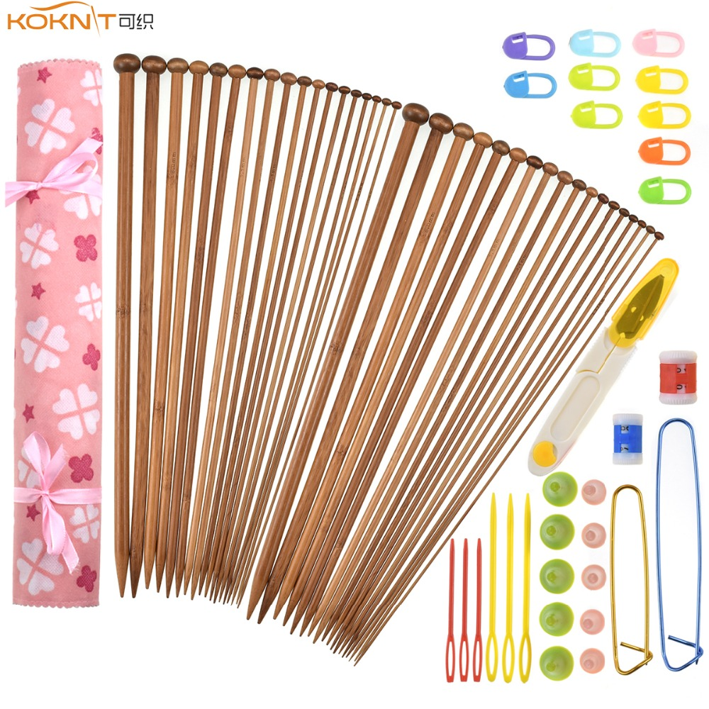 KOKNIT Bamboo Knitting Needles 36pcs Mix 2 0mm 10 0mm Single Point Yarn Weave Knitting Needle With Pink Bag and Sewing Accessory in Sewing Tools Accessory from Home Garden
