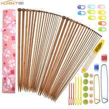 KOKNIT Bamboo Knitting Needles 36pcs Mix 2.0mm-10.0mm Single Point Yarn Weave Needle With Pink Bag and Sewing Accessory