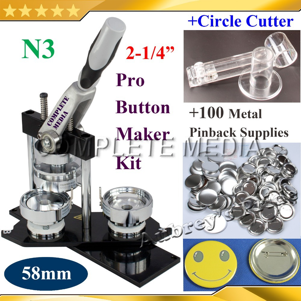 NEW Professional N3 2 1 4 58mm Badge Button Maker Machine Adjustable Circle Cutter 100 Set