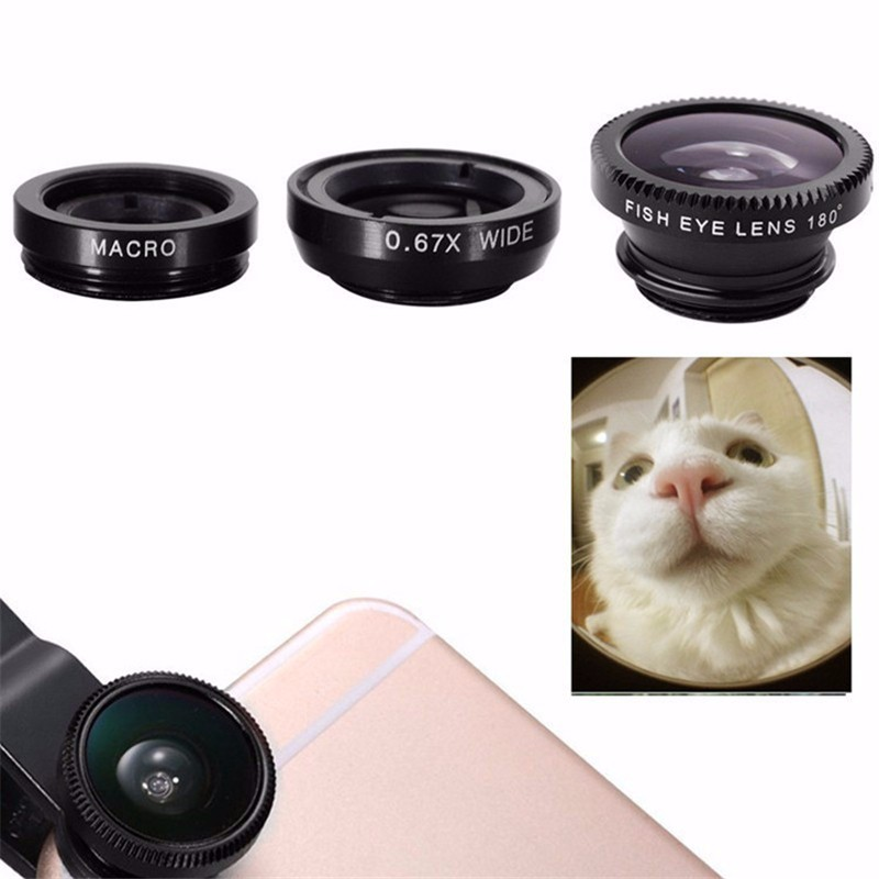 Universal 3 In 1 Wide Angle Mobile Phone Camera Lens for iPhone 7 8 Plus X 2
