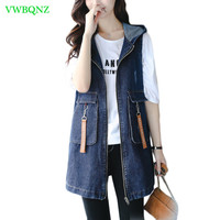 Spring Autumn Embroidery Denim Vest Women Loose Long Jeans Horse clips Women's Fashion Hooded Plus size Denim Jacket Cool A370