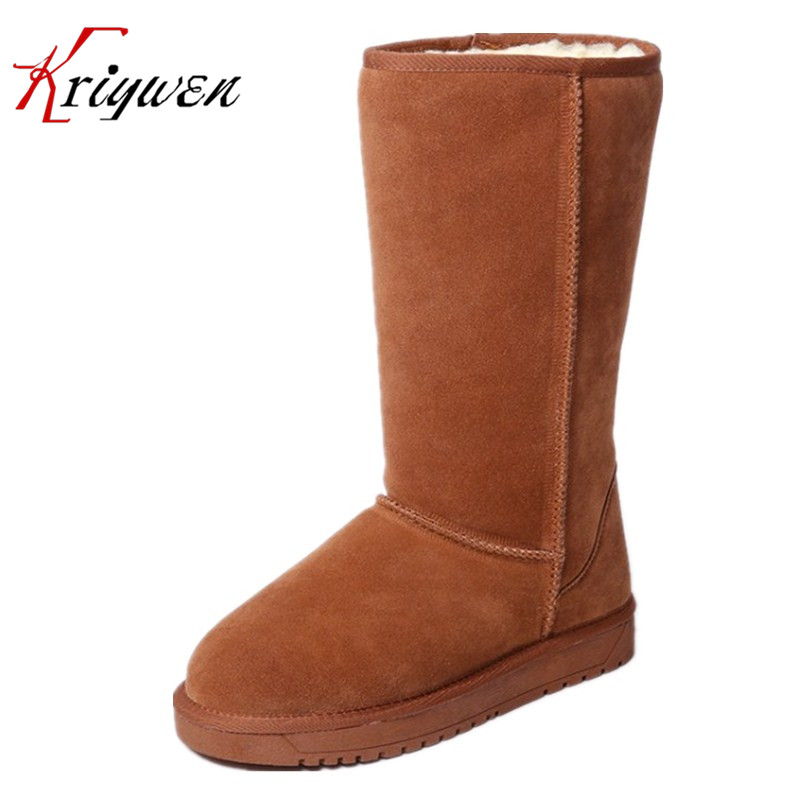 100% Cow suede winter Russian women shoes femmes botas plush solid mid-calf boots retro classic causal lady shoes snow boots