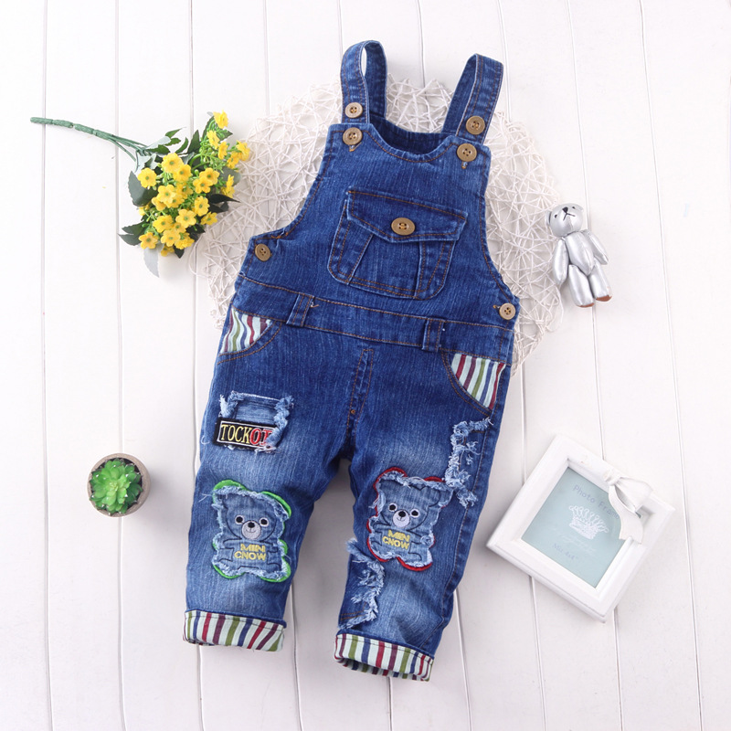 BibiCola Spring Children Overall Pants Baby Boys Pants Kids Jeans Overalls Jumpsuits Cotton Denim Bib Pants Trousers for girls new 2017 spring long length baby girls jeans pants fashion kids loose ripped jeans pants for children hole denim trousers