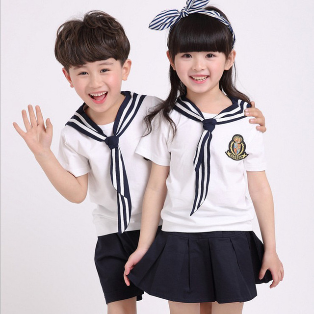 Korean cute style students uniform set summer primary cotton korean cute style students uniform set summer primary cotton school uniforms 3pcs suit girls boys navy voltagebd