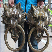 WBY 406+++ 17Chinese Bronze Guardian Foo Fu Dog Lion Head Door Gate Knocker Statue Pair