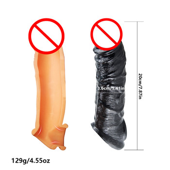 Cock Penis Sleeves Reusable Silicone Condom Male Extender Sleeve Penis Enlargement Condoms Sexy Toys For Men Intimate Goods 5