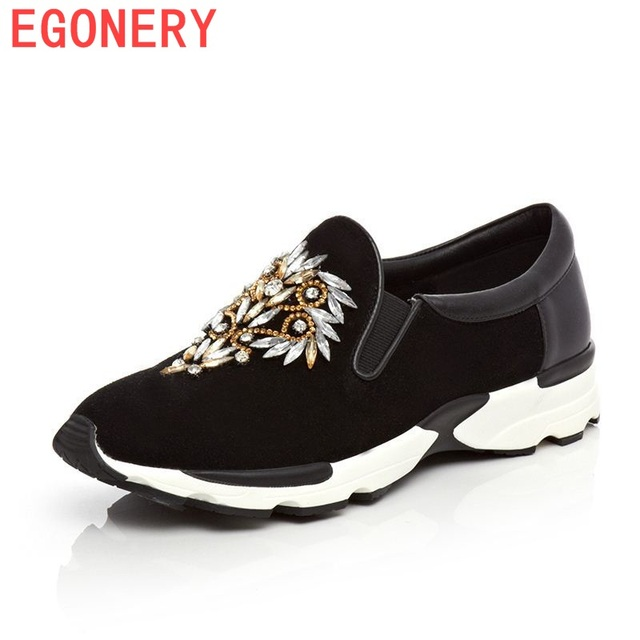 EGONERY shoes 2016 Flat New style women Casual slip on flats shoes Fashion Patchwork genuine leather flats straw Shoes for women
