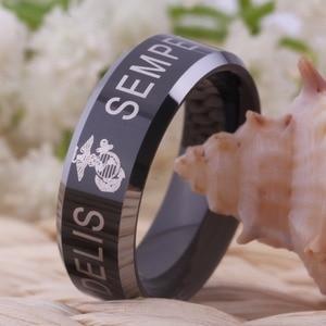 "Image 2 - YGK ארה""ב צבאי טבעת ארצות הברית חיל הנחתים ארה""ב צבא גברים חותם טבעת Comfort Fit USMC סמפר פידליס טונגסטן חתונה טבעת"