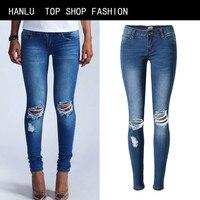 HANLU Fashion Women Bleached Jeans Pants Slim Pencil Pants Stretch Jeans Knee Hole Pants Female Low Waist Jeans Trousers