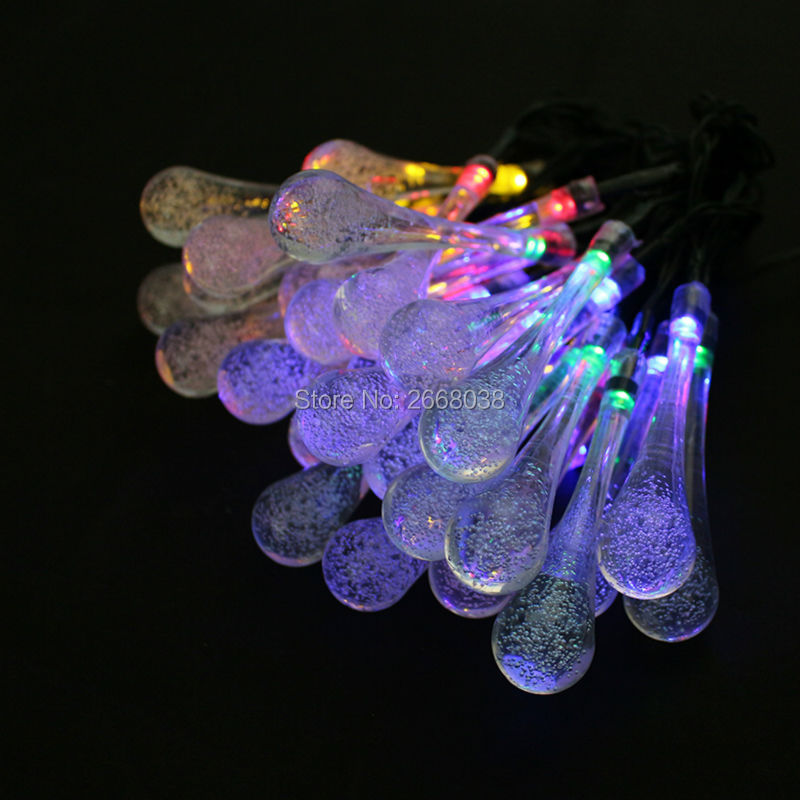 Solar Outdoor Luz de cadena 30 Led Icicle Globe,Patio Light for Garden,Christmas,Wedding,Party, Xmas,Indoor,Path,Porch