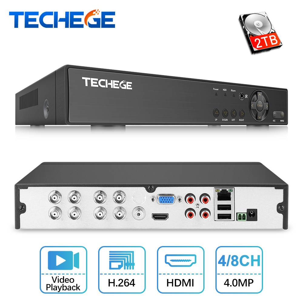 Techege H 264 5 in 1 Security 8CH CCTV AHD DVR 4MP For AHD CVI TVI