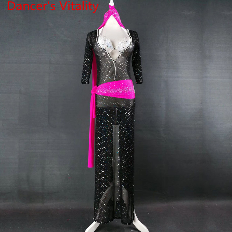 Customized Belly Dance Practice Sparkling Rhinestone Dress Bra Belt Oriental Indian Dance Wear Performance Costume Clothes Suit