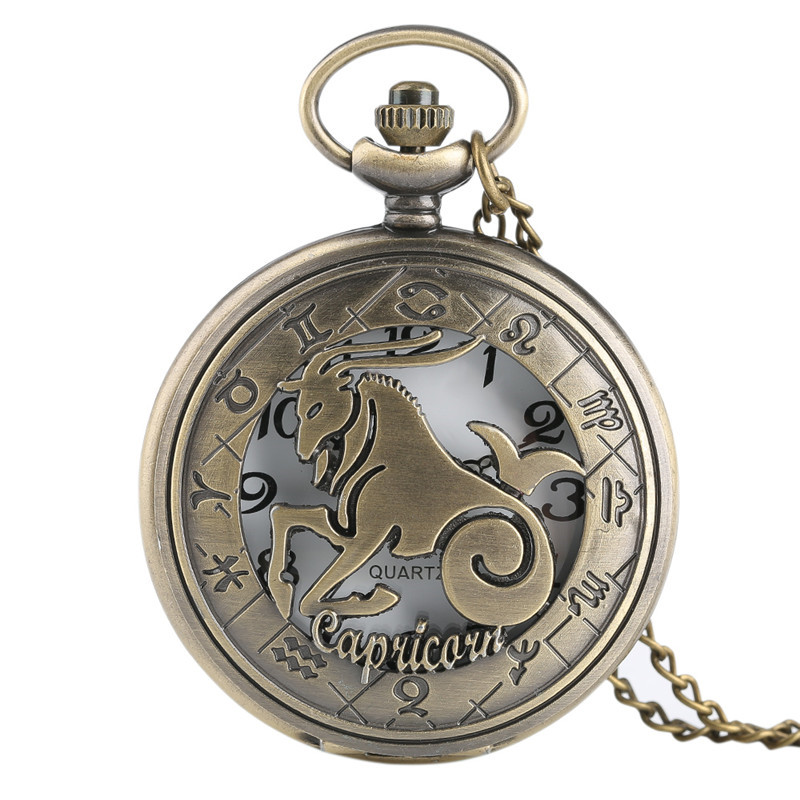 Wholesale Bronze 12 Constellations Theme Series Quartz Pocket Watch Modern Zodiac Clock Chain Christmas Birthday Gift Dropship