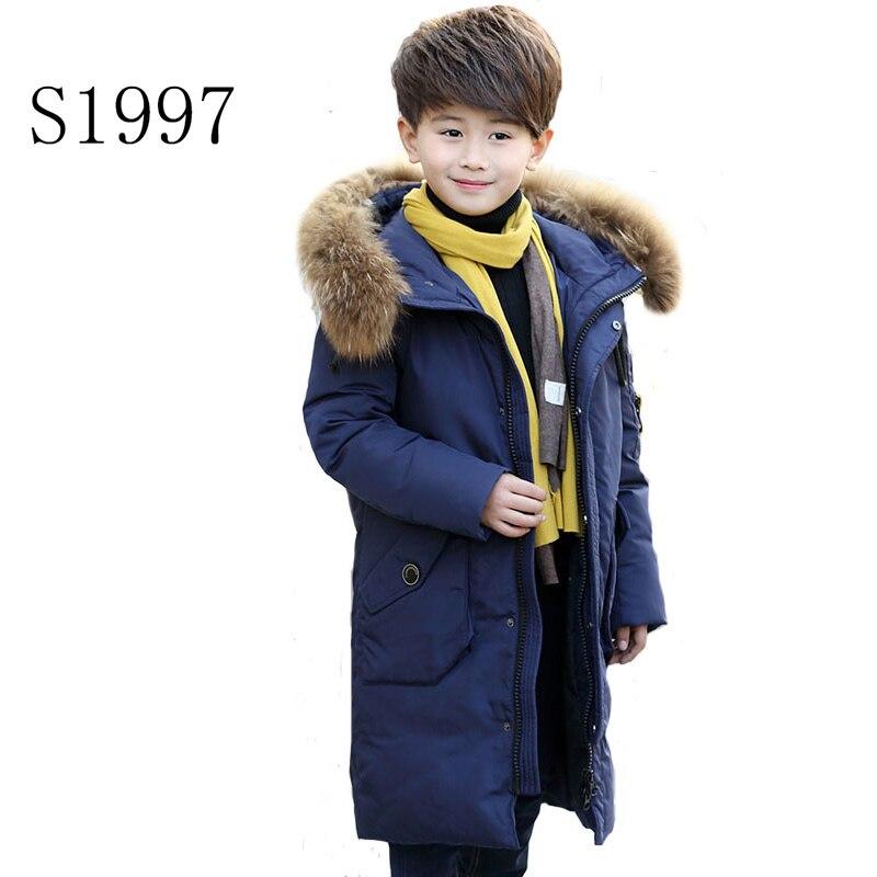 Thickening Girl Winter Coat White Duck Down 5-14T Boys Winter CoatWarm Down Parkas Fur Hooded Raincoat X-Long Down Coat Retail dunlop winter maxx wm01 205 65 r15 t