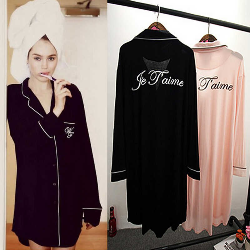 Inplusni women sleep tops modal sexy big yards long-sleeved shirt nightgown  during 2019 summer 475cce459