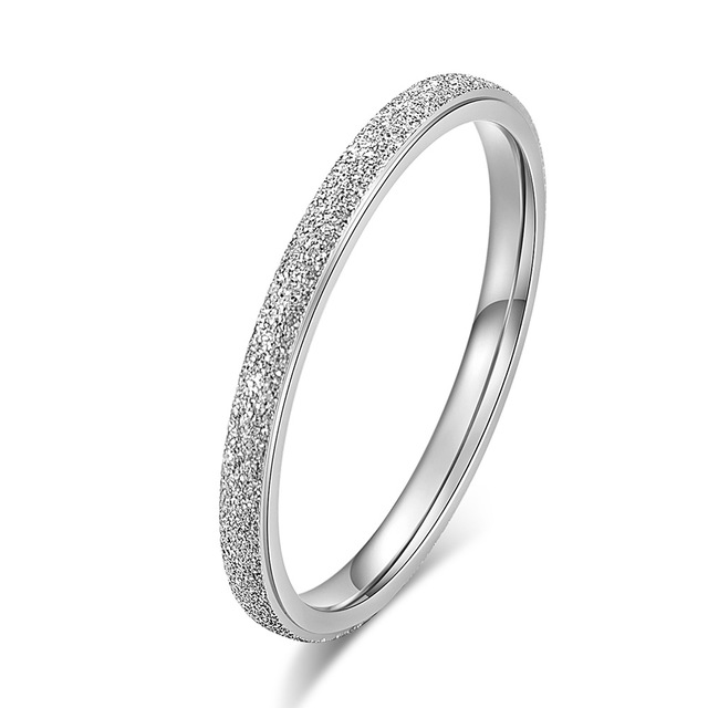 KNOCK Высокое качество модные простые скраб нержавеющая сталь женские кольца 2 мм ширина розовое золото цвет палец подарок для девушки ювелирные изделия - Цвет основного камня: 0000023