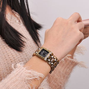 Image 5 - BOBO BIRD montre femme Wooden Womens Watches Top Fashion Square Dial Watch Collection for Ladies Stainless Steel Wristwatch S03