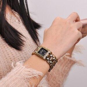 Image 5 - בובו ציפור montre femme עץ נשים של שעונים למעלה אופנה כיכר חיוג שעון אוסף עבור גבירותיי נירוסטה שעוני יד S03