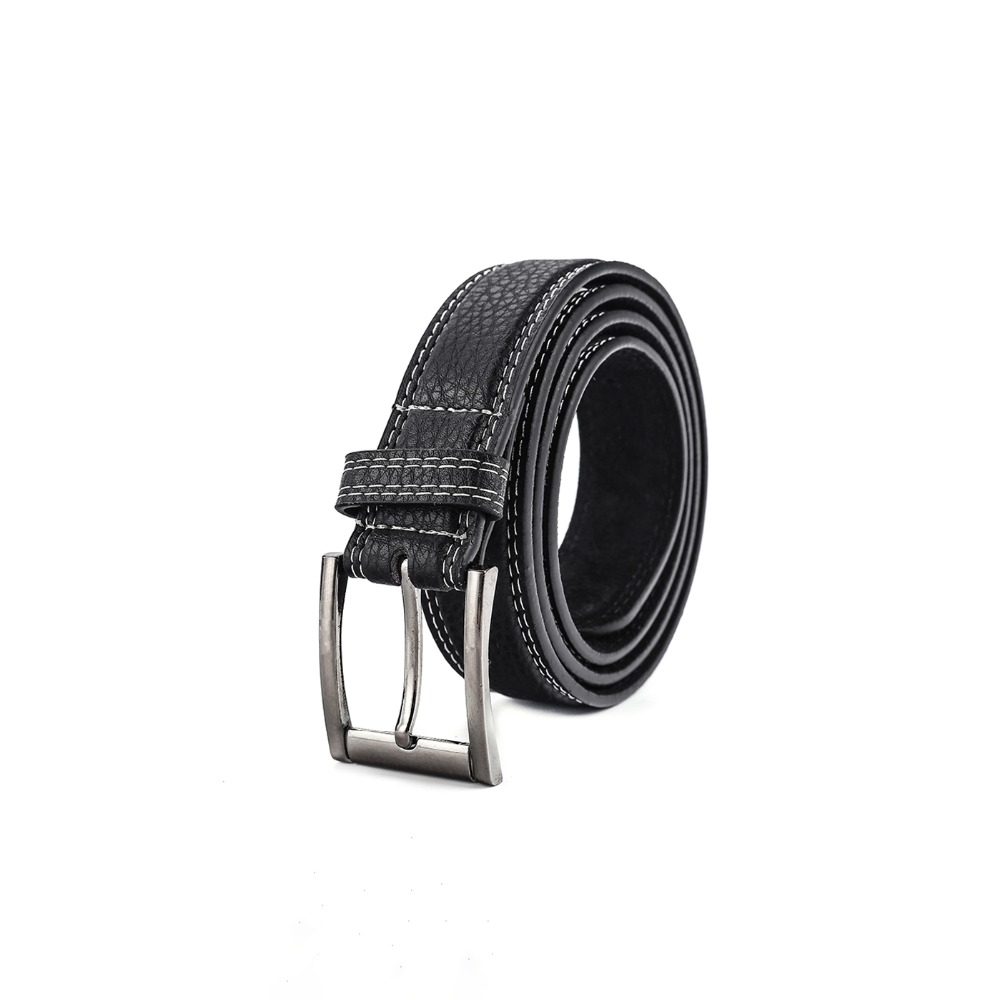 SHANH ZUN Men Belt Faux Leather Fashion Strap Male Belts for Jeans New Classice Vintage Pin Buckle Black Color