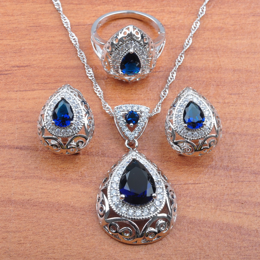 2019 New Australian Crystal Blue Stone 925 Sterling Silver Dubai Jewelry Set For Women Wedding Jewelry Best Gift JS211