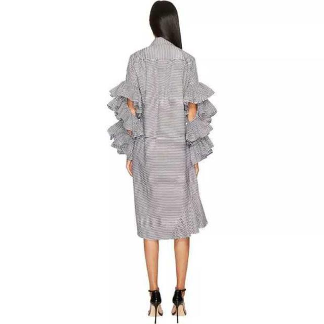 New 2018 Dress Fashion Women Autumn Gray White Dress Long Petal Sleeve Hollowed Girls Stylish Party Clubwear Dress Style 7127