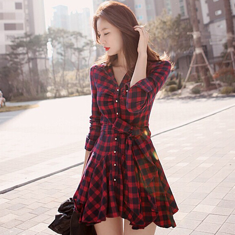 Women's Plaid Dress Long Sleeve V Neck Shirt Dress With Belt Spring - Women's Clothing - Photo 1