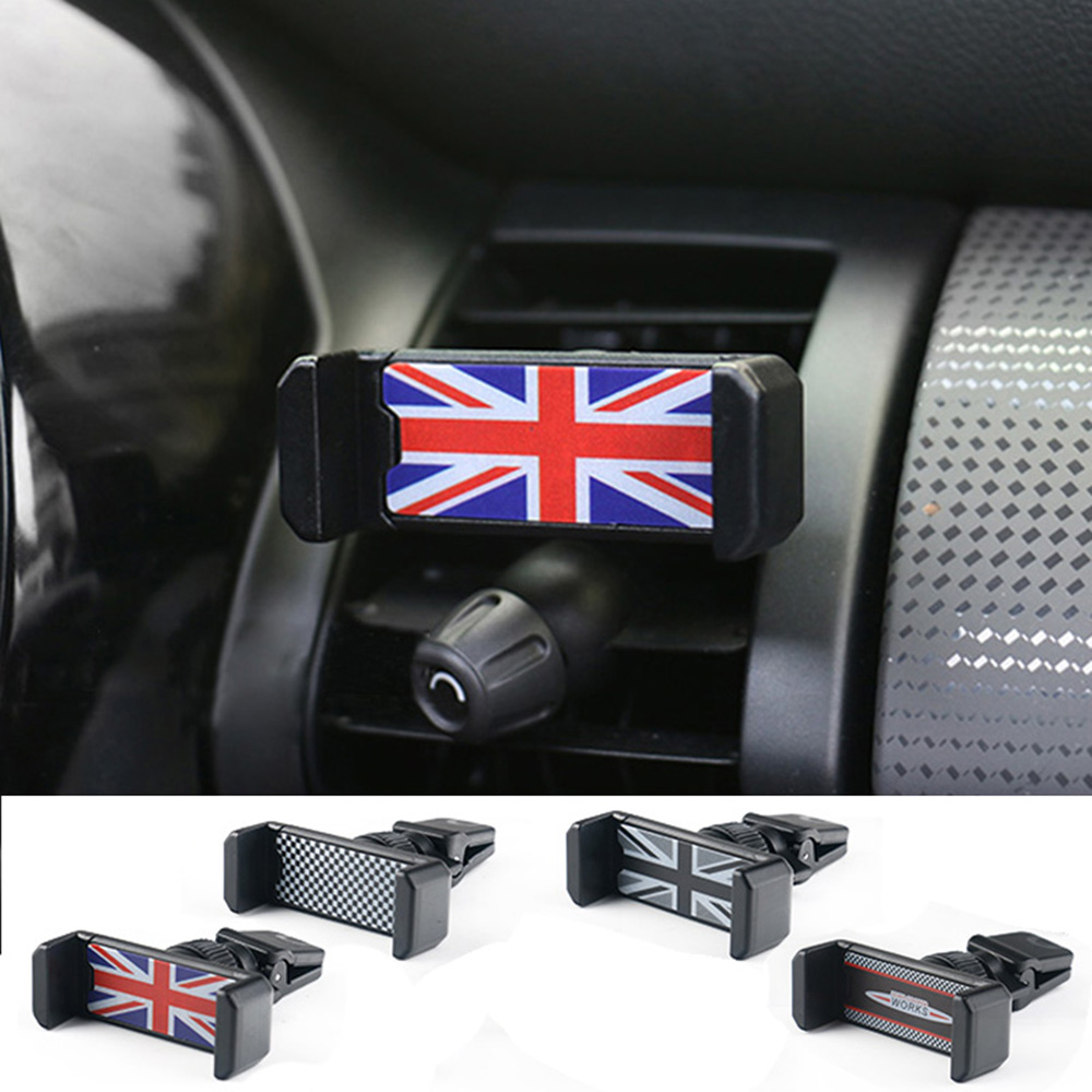 Universal Union Jack Car Phone Holder Air Vent Outlet Mount Cell Phone Holders Bracket For Mini Cooper One JCW S F60 Car-Styling universal union jack 38cm pu leather car steering wheel cover decoration for mini cooper jcw s clubman countryman car styling