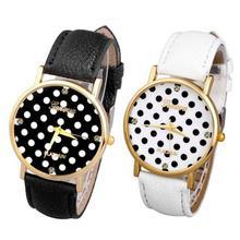 SmileOMG Women's Watch Polka Dot Dial Quartz Trend Leather Strap Analog Watch,Aug 26