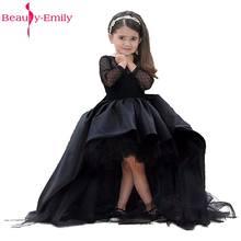 12db40774c 2017 Nowa Matka Córka Sukienka Na Wesela z Suknia Balowa Rękawy Czarne  Długie Flower Girl Dresses Ruffles Wielowarstwowa Vestido.