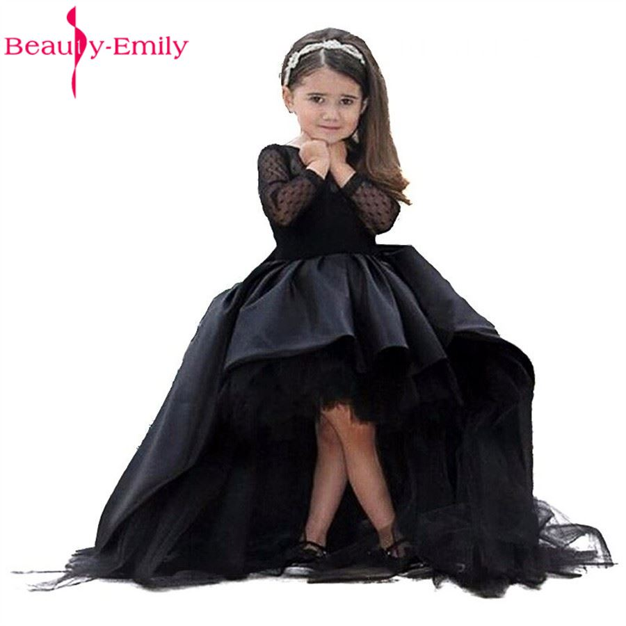 2017 New Mother Daughter   Dress   For Weddings with Ball Gown Sleeves Black Long   Flower     Girl     Dresses   Ruffles Tiered Vestidos De Com