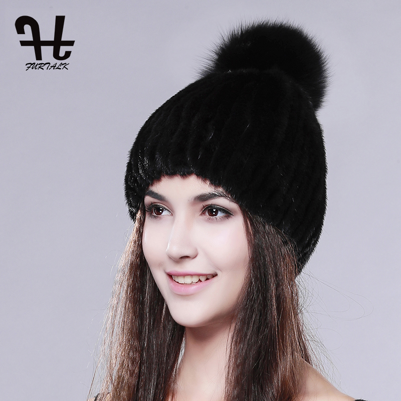 FURTALK real mink fur hats for women winter knitted mink fur cap with fox fur pom poms 2016 hot sale brand new warm female hat hat sale women children real mink knited fur hat fox fur pom pom top hats winter warm thick knitted mink fur baby beanies cap