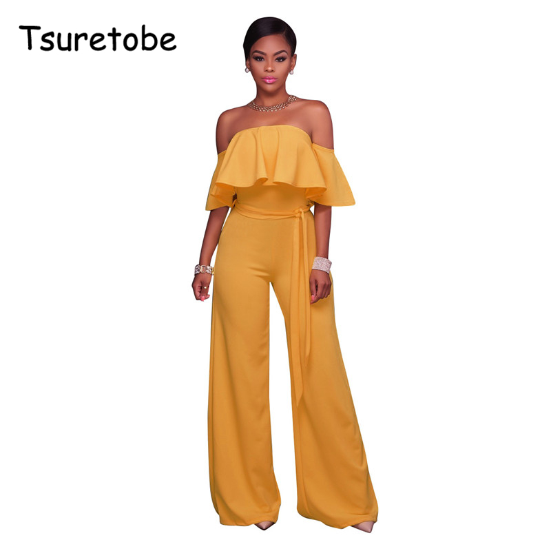 Tsuretobe Slim Fit Strapless Summer Sexy Jumpsuits Solid Color Short Sleeve Wide Leg Romper Womens Jumpsuit Macacao Feminino