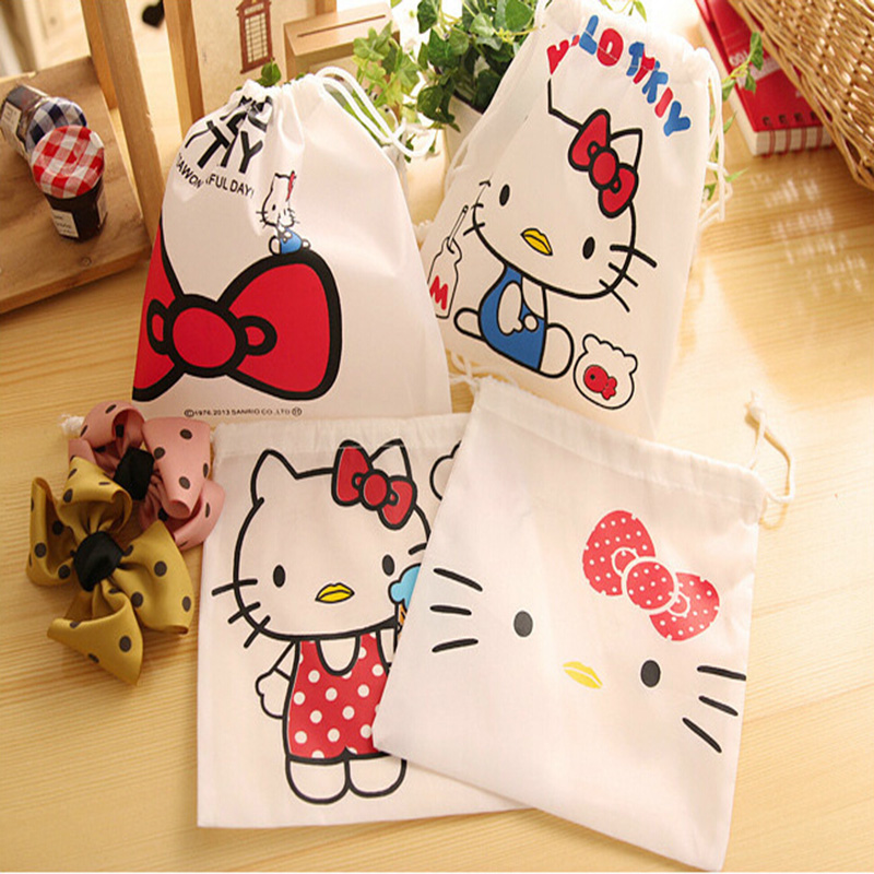 1X Kawaii Hello Kitty String Style Pocket Pen Bag Stationery Storage Bag Gift Bag Card & Note Clip Holder Pouch Kids Pinata